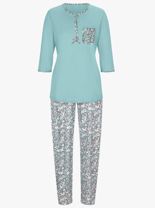 wäschepur Schlafanzug - mint-grau-bedruckt