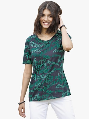 Shirt - smaragd-gemustert