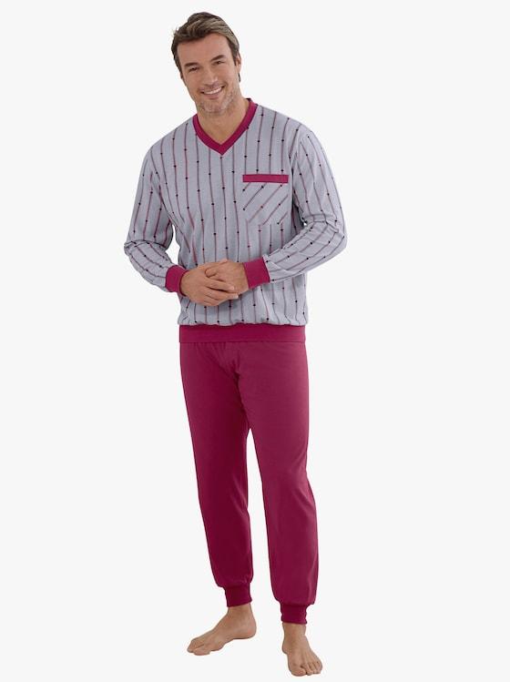 Schlafanzug - grau-bordeaux-meliert