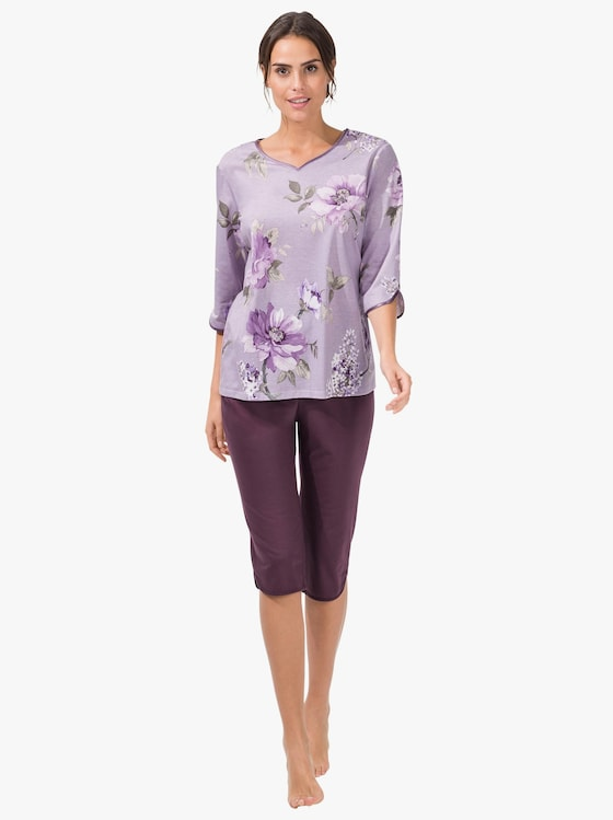 Arabella Schlafanzug - pflaume-gemustert