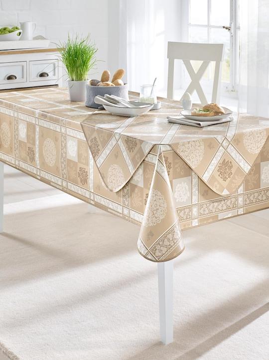 Tischdecke - taupe-gemustert