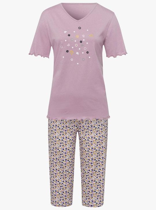 Capri-pyjama - mauve gedessineerd