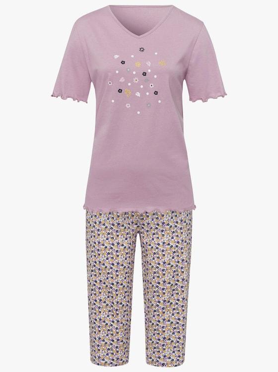 Capri-Schlafanzug - mauve-bedruckt