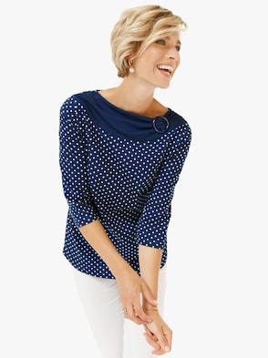 Tričko - námořnická modrá-bílá-puntík