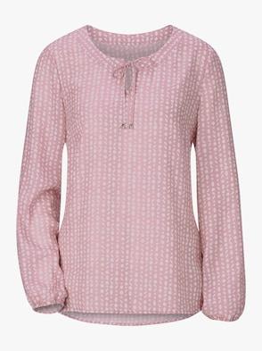 Schlupf-Bluse - rosé-weiß