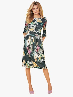 Jersey-Kleid - khaki-gemustert
