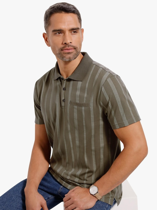 Poloshirt - khaki-gestreift