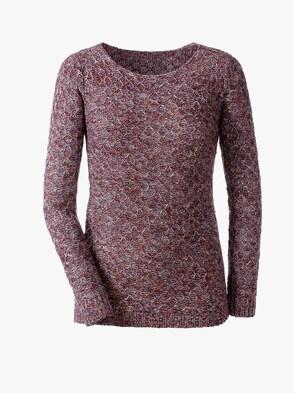 Pullover - bordeaux-gemustert