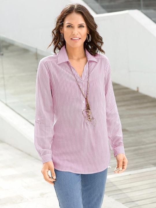 Collection L Gestreepte blouse - roze gestreept