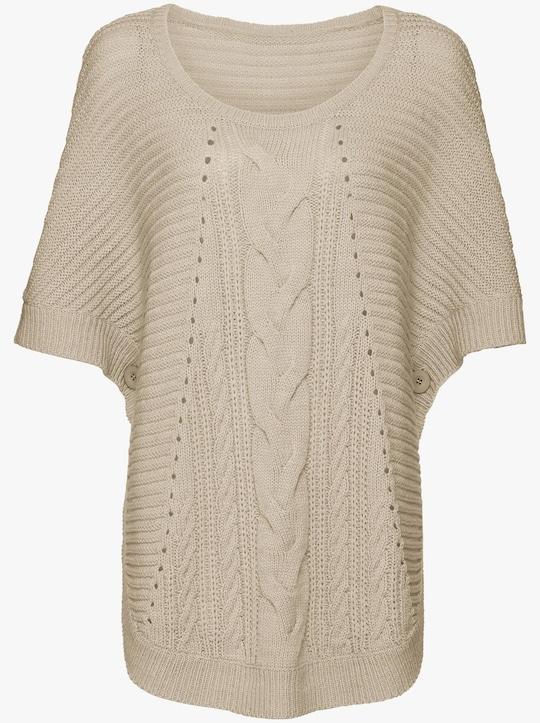 Gebreide poncho - beige