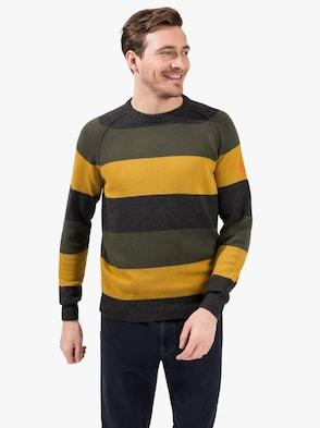 Pullover - grün-gelb-gestreift