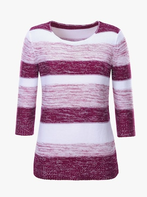 Collection L Pullover - weiß-fuchsia-gestreift