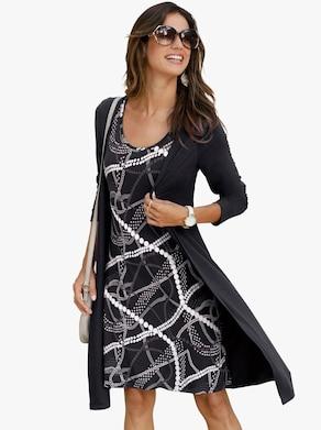 Žerzejové šaty - černá-vzor