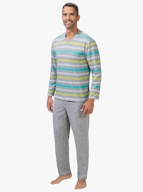Schlafanzug - hellgrau-meliert
