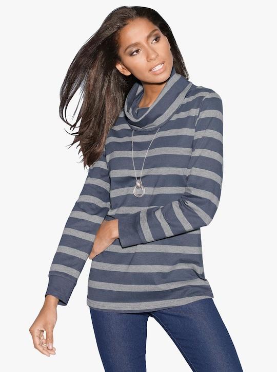 Shirt - blauw/grijs gestreept