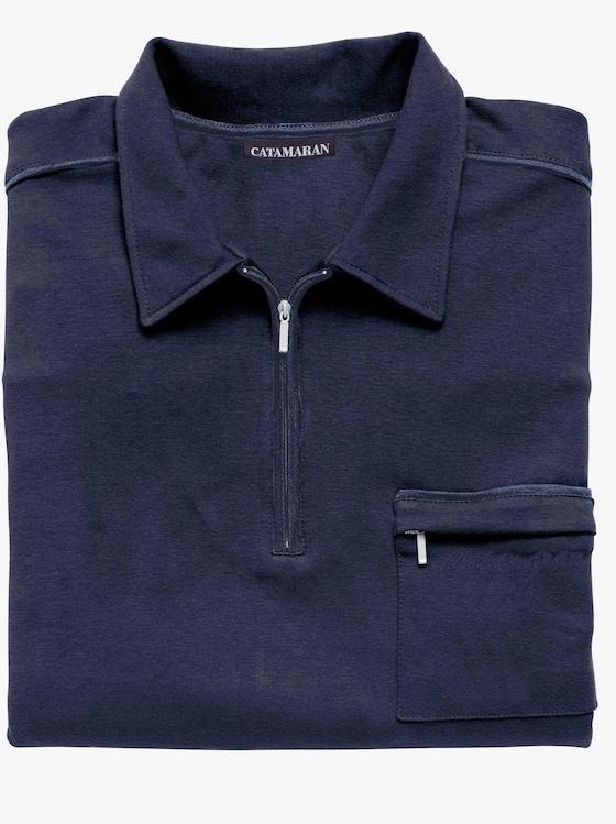 Langarm-Poloshirt - marine