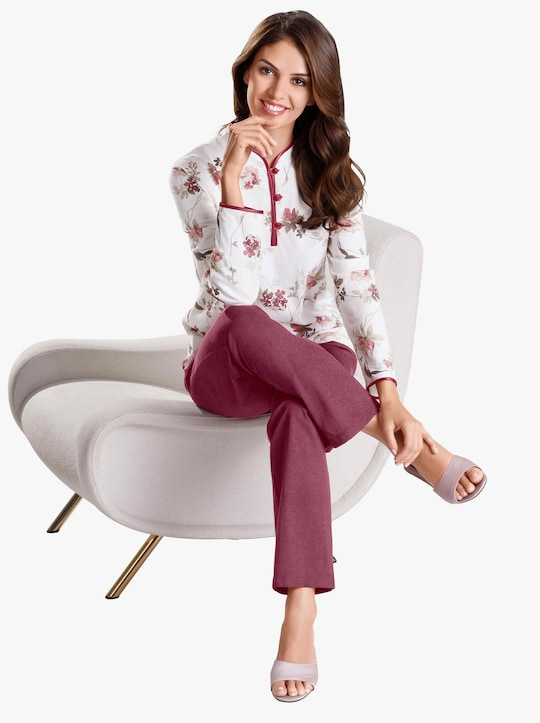 Arabella Pyjama - ecru/bordeaux