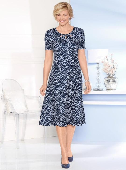 Jersey-Kleid - marine-weiß-bedruckt