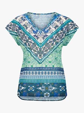 Shirt - grün-blau-gemustert