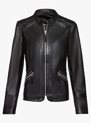 Mainpol Leder-Jacke - schwarz