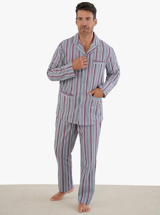 Pyjamas - grå-röd, randig