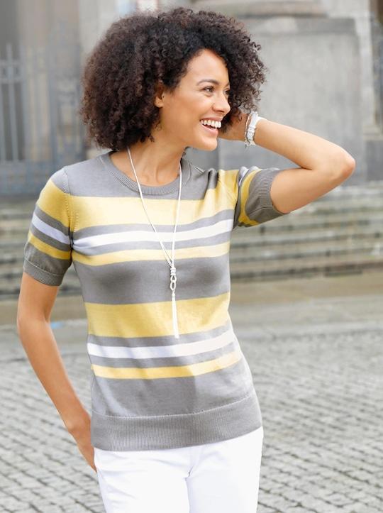 Collection L Rundhals-Pullover - grau-gelb-gestreift