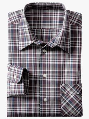 Košeľa s dlhými rukávmi - bordová-kockovaná