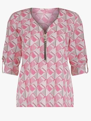 Bluse - pink-weiß-gemustert