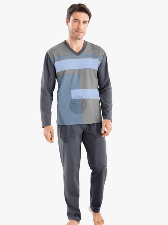 Schlafanzug - grau-bedruckt