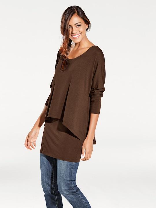 Linea Tesini Rundhals-Shirt - schokobraun
