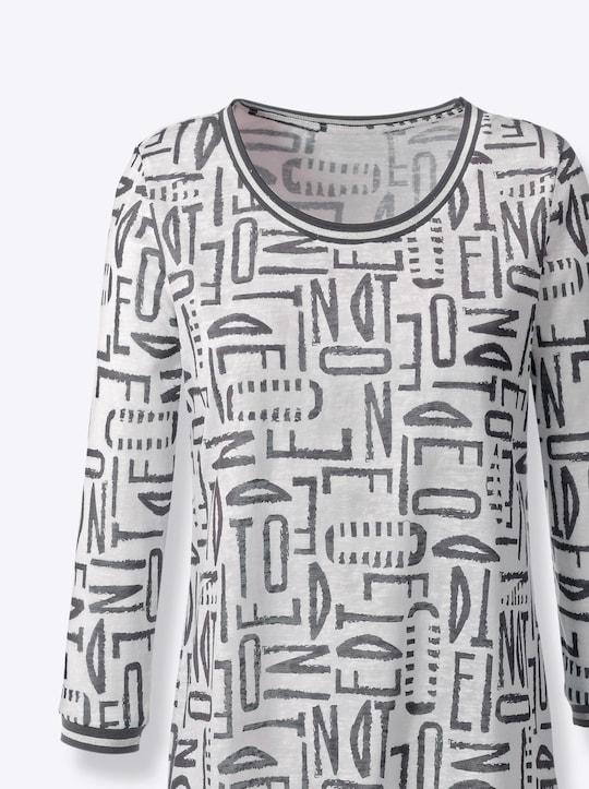 Shirt - weiß-anthrazit-bedruckt