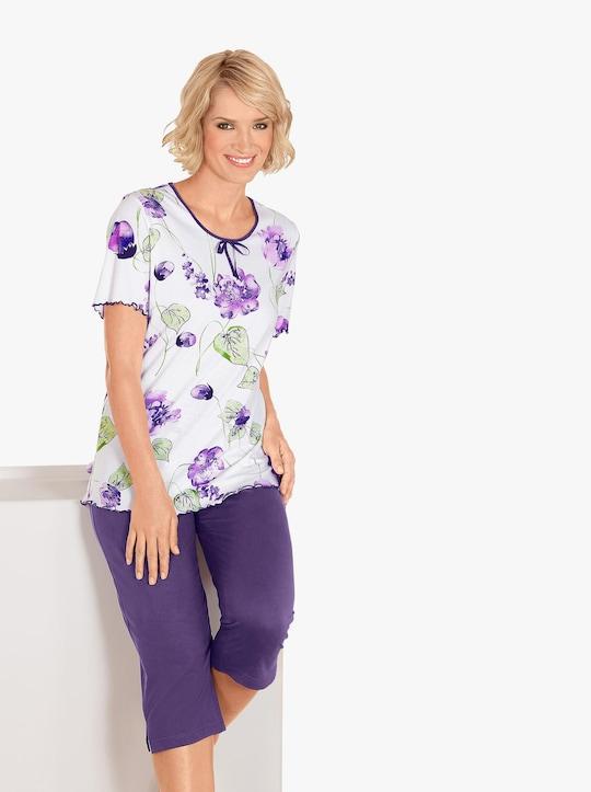 Capri-pyjama - wit geprint