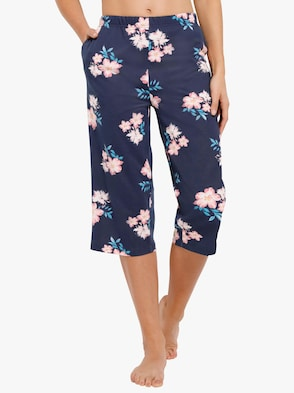 Capri kalhoty pro volný čas - námořnická modrá-potisk