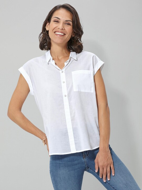 Collection L Baumwollbluse - weiß