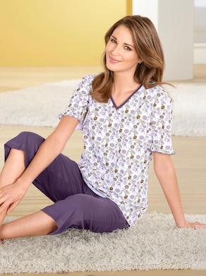 Capri-Schlafanzug - flieder-bedruckt