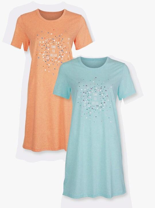 wäschepur Sleepshirts - mint-meliert + orange-meliert