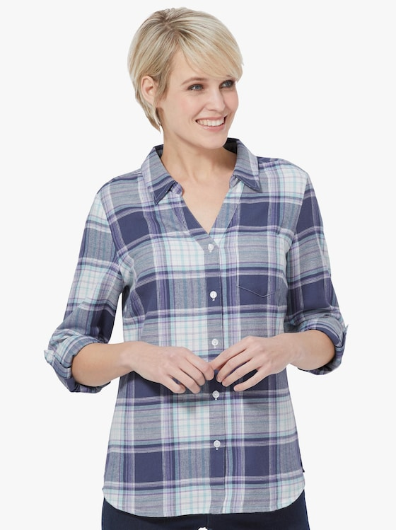 Collection L Bluse - pflaume-kariert