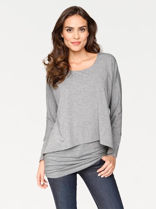 Linea Tesini Rundhals-Shirt - grau-melange