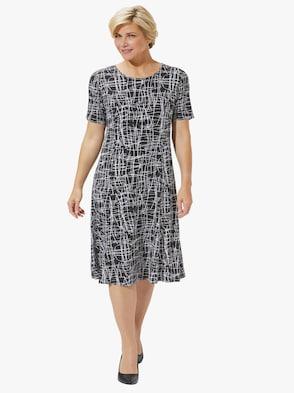 Jersey-Kleid - schwarz-gestrichelt