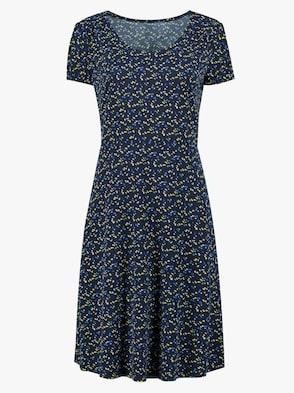 Jersey-Kleid - marine-gelb-bedruckt