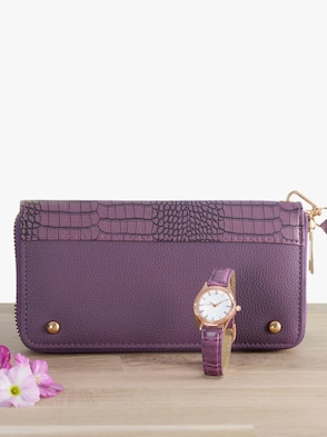 Uhr mit Brieftasche - lila