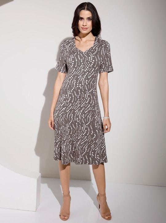 Jersey-Kleid - taupe-bedruckt