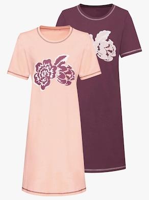 Nočné košele - Ružová+bordová
