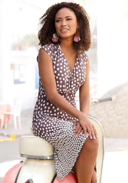 LASCANA Jerseykleid - braun-creme-bedruckt