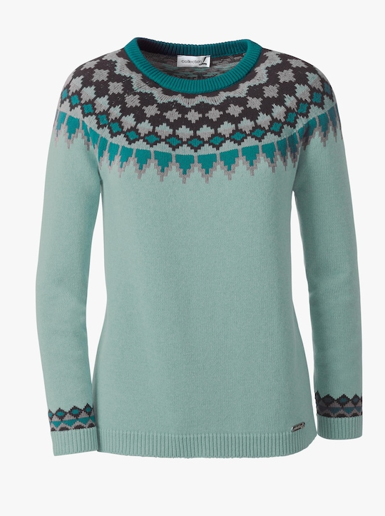 Collection L Pullover - mint-gemustert