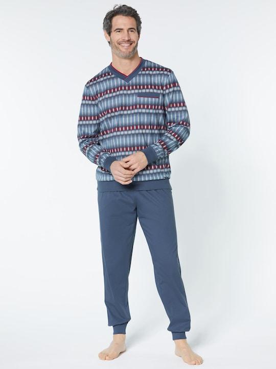 KINGsCLUB Schlafanzug - marine-gemustert
