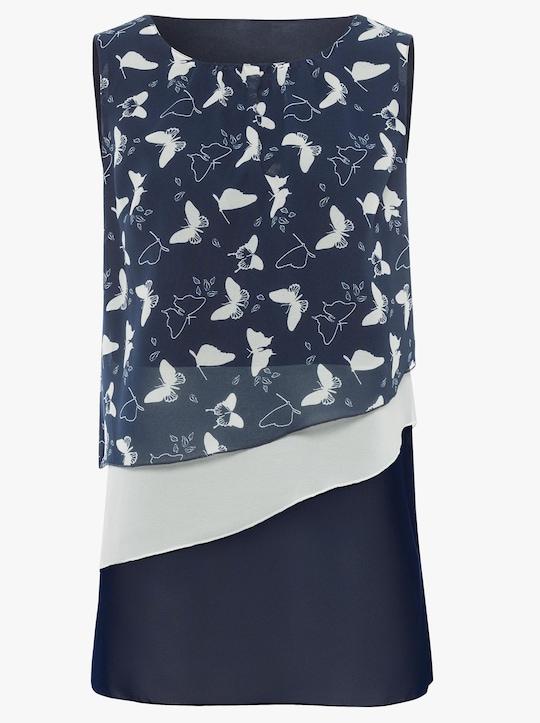 Longbluse - marine-gemustert