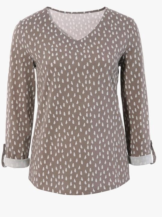 Shirt - taupe geprint