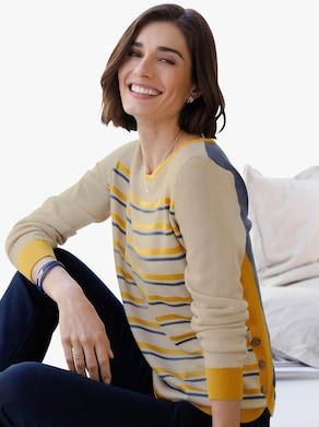 Pullover - oker gestreept