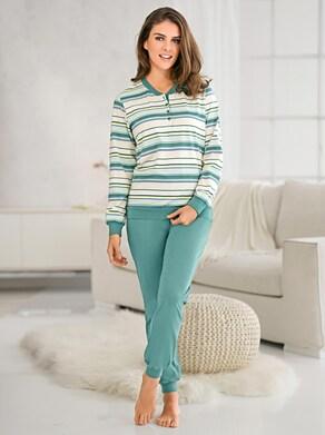 wäschepur Schlafanzug - mint-geringelt